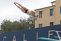 BERKELEY, CA - Feb. 18, 2017: Stanford's Ted Miclau dives the 3 meter.  Cal Men's Swimming and Diving competed against Stanford at Spieker Aquatics Complex.