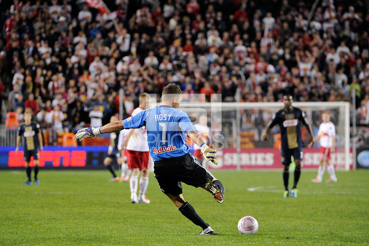 New York Red Bulls goalkeeper Frank Rost (1) puts a ball in play. The New York Red Bulls defeated the Philadelphia Union  1-0 during a Major League Soccer (MLS) match at Red Bull Arena in Harrison, NJ, on October 20, 2011.