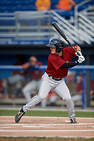 Mahoning Valley Scrappers shortstop Tyler Friis (34) at bat during the second game of a doubleheader against the Batavia Muckdogs on September 4, 2017 at Dwyer Stadium in Batavia, New York.  Mahoning Valley defeated Batavia 6-2.  (Mike Janes/Four Seam Images)