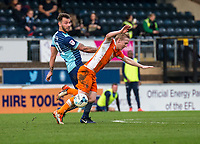 Max Muller of Wycombe Wanderers and Mark Cullen of Blackpool during the Sky Bet League 2 match between Wycombe Wanderers and Blackpool at Adams Park, High Wycombe, England on the 11th March 2017. Photo by Liam McAvoy.