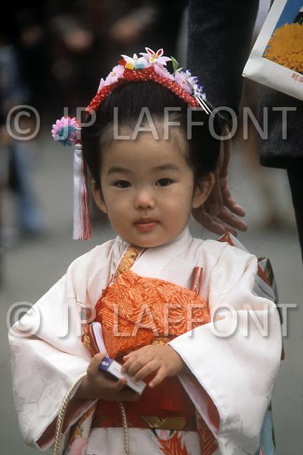 October, 1980. Tokyo, Japan. On Sundays many Japanese families dress in traditional Japanese Kimono.