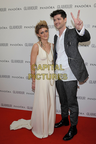 Bo Bruce, Danny O'Donoghue.The Glamour Women Of The Year Awards 2012, Berkeley Square Gardens, Berkeley Square, London, England..May 29th, 2012.full length black white grey gray beige dress hand v peace sign.CAP/PL.©Phil Loftus/Capital Pictures.