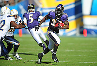 Sep. 20, 2009; San Diego, CA, USA; Baltimore Ravens running back (23) Willis McGahee runs the ball in the fourth quarter against the San Diego Chargers at Qualcomm Stadium in San Diego. Baltimore defeated San Diego 31-26. Mandatory Credit: Mark J. Rebilas-
