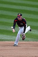 Rochester Red Wings second baseman James Beresford (2) flips the ball to second for the force out during a game against the Louisville Bats on May 4, 2014 at Frontier Field in Rochester, New  York.  Rochester defeated Louisville 12-6.  (Mike Janes/Four Seam Images)