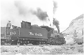 3/4 rear engineer side view of K-36 #483 SWITCHING AT Monarch Mine.<br /> D&amp;RGW  Monarch, CO