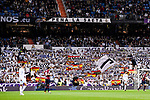 Supporters of Real Madrid wave their team's flag and cheer for their team during the La Liga 2017-18 match between Real Madrid and SD Eibar at Estadio Santiago Bernabeu on 22 October 2017 in Madrid, Spain. Photo by Diego Gonzalez / Power Sport Images