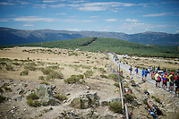 approaching peloton<br /> <br /> stage 20: San Lorenzo de el Escorial - Cercedilla (176km)<br /> 2015 Vuelta à Espana