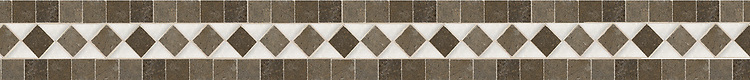 "4 3/8"" Olcella border, a hand-cut stone mosaic, shown in polished Calacatta Tia and honed Montevideo."