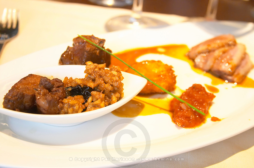Duck in three different forms with risotto, potato cake and tomato sauce. The Restaurant Red at the Hotel Madero Sofitel in Puerto Madero, Buenos Aires Argentina, South America