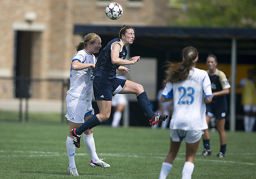 September 01, 2013:  Notre Dame midfielder Morgan Andrews (3) and UCLA midfielder Samantha Mewis (22) during NCAA Soccer match between the Notre Dame Fighting Irish and the UCLA Bruins at Alumni Stadium in South Bend, Indiana.  UCLA defeated Notre Dame 1-0.