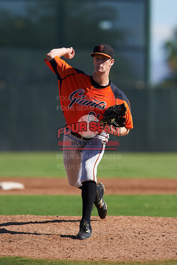 San Francisco Giants pitcher Chase Johnson (61) during an instructional league game against the Kansas City Royals on October 23, 2015 at the Papago Baseball Facility in Phoenix, Arizona.  (Mike Janes/Four Seam Images)