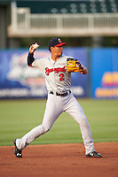 Brevard County Manatees shortstop Angel Ortega (2) throws to first during a game against the Fort Myers Miracle on April 13, 2016 at Hammond Stadium in Fort Myers, Florida.  Fort Myers defeated Brevard County 3-0.  (Mike Janes/Four Seam Images)