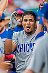 29 June 2017: Chicago Cubs infielder Jeimer Candelario celebrates in the dugout after hitting his first major league home run to lead off the 7th inning against the Washington Nationals at Nationals Park in Washington, DC. The Cubs rallied to defeat the Nationals 5-4 and split their 4-game series. Mandatory Credit: Ed Wolfstein Photo *** RAW (NEF) Image File Available ***