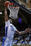30 November 2014: Duke's Jahlil Okafor dunks the ball. The Duke University Blue Devils hosted the West Point Military Academy Army Black Knights at Cameron Indoor Stadium in Durham, North Carolina in a 2014-16 NCAA Men's Basketball Division I game. Duke won the game 93-73.