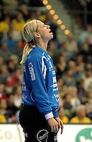 Handball Frauen / Damen  / women 1. Bundesliga - DHB - HC Leipzig : Frankfurter HC - im Bild: machtlos - HCL Torfrau / Keeperin / Torhüterin Katja Schülke (Schuelke). Porträt . Foto: Norman Rembarz .