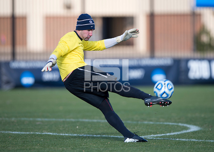 Tomas Gomez (1) of Georgetown punts the ball upfield during the second round of the NCAA tournament at Shaw Field in Washington, DC. Georgeotown defeated Old Dominion, 3-0.