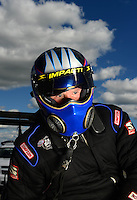 Sept 8, 2012; Clermont, IN, USA: NHRA top fuel dragster driver Pat Dakin during qualifying for the US Nationals at Lucas Oil Raceway. Mandatory Credit: Mark J. Rebilas-
