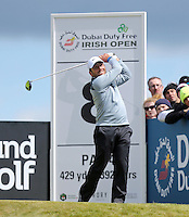 Friday 29th May 2015; Francesco Molinari, Italy, tees off at the 8th<br /> <br /> Dubai Duty Free Irish Open Golf Championship 2015, Round 2 County Down Golf Club, Co. Down. Picture credit: John Dickson / SPORTSFILE