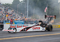Sep 14, 2018; Mohnton, PA, USA; NHRA top fuel driver Steve Torrence during qualifying for the Dodge Nationals at Maple Grove Raceway. Mandatory Credit: Mark J. Rebilas-USA TODAY Sports