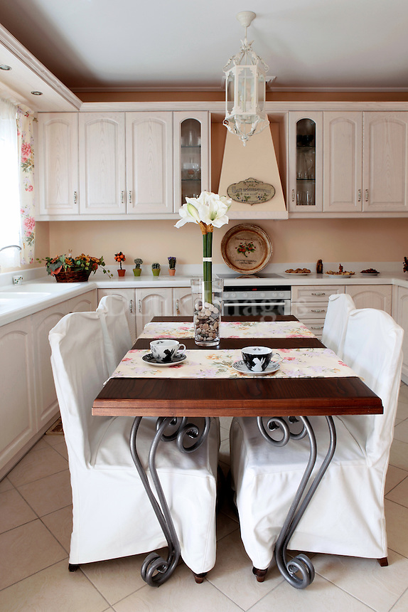 cottage style kitchen with dining set