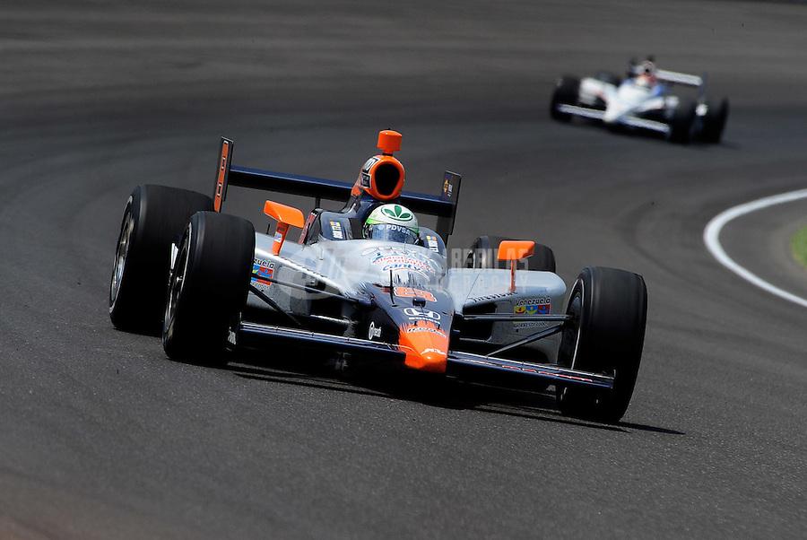 May 30, 2010; Indianapolis, IN, USA; IndyCar Series driver E.J. Viso during the Indianapolis 500 at the Indianapolis Motor Speedway. Mandatory Credit: Mark J. Rebilas-