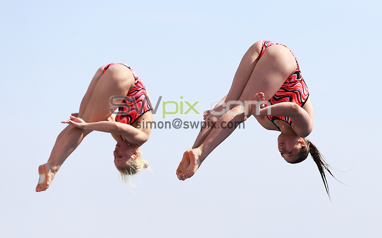 PICTURE BY VAUGHN RIDLEY/SWPIX.COM - Diving - 15th FINA World Championships 2013 - Monjtuic Municipal Swimming Pool, Barcelona, Spain - 20/07/13 - Russia's Diana Chaplieva and Daria Govor compete in the Women's 3m Synchro Preliminary.
