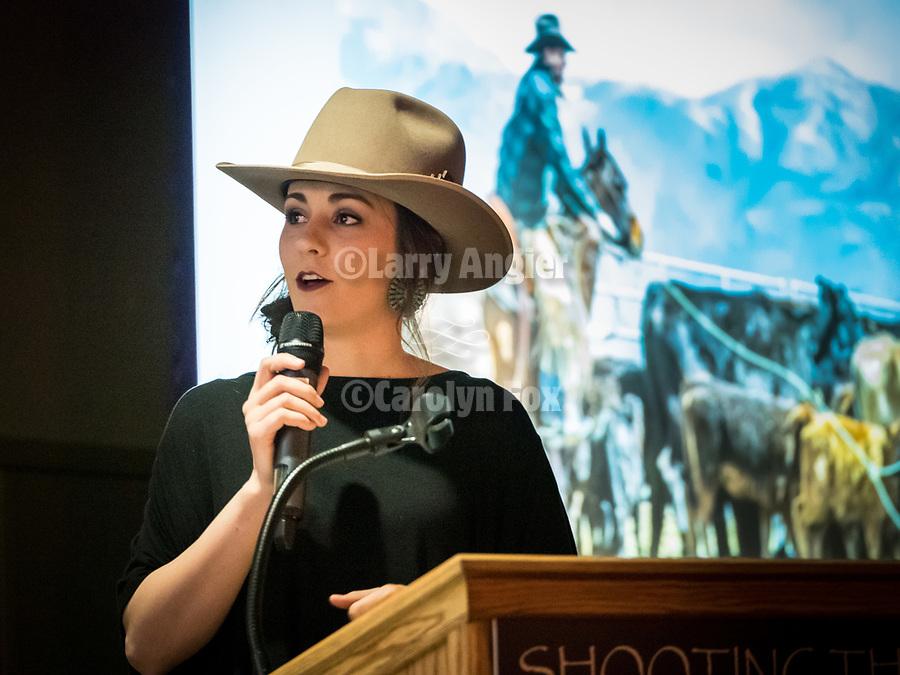 Ashley Buckingham from Nevada Rancher introduces Nicole Polo on the Friday symposium at STW XXXI, Winnemucca, Nevada, April 12, 2019.<br /> .<br /> .<br /> .<br /> .<br /> @shootingthewest, @winnemuccanevada, #ShootingTheWest, @winnemuccaconventioncenter, #WinnemuccaNevada, #STWXXXI, #NevadaPhotographyExperience, #WCVA