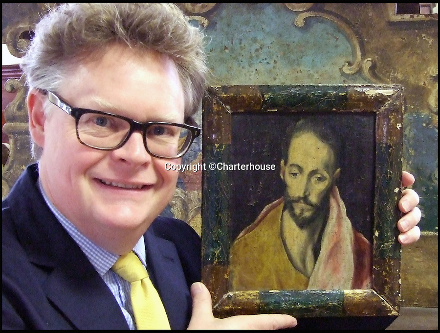 BNPS.co.uk (01202 558833)<br /> Pic: Charterhouse/BNPS<br /> <br /> Stunned auctioneer Richard Bromell.<br /> <br /> Lost El Greco discovered in a Dorset saleroom?<br /> <br /> An auction house was stunned when a small and rather tired looking oil painting that had spent the last 8 years in an attic sold for £120,000  - £119,700 over its £300 estimate.<br /> <br /> The tiny 9ins by 7ins painting of a Catholic saint was believed by Charterhouse auctioneers in Sherborne, Dorset, to have been the work of a 'follower' of 16th century renaissance artist El Greco.<br /> <br /> But the feverish bidding seems to suggest it may actually be by the Greek master himself.<br /> <br /> Charterhouse Auctioneers: Est £300, sold for £120,000.