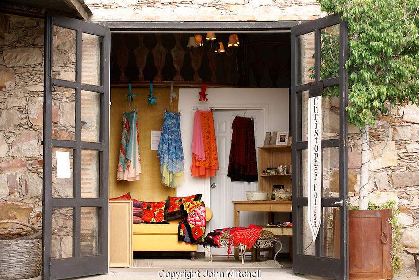 Upscale clothing store in  Fabrica La Aurora Art and Design Center, San Miguel de Allende, Mexico. San Miguel de Allende is a UNESCO World Heritage Site.