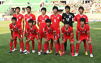 South Korea's team, from left to right, back row,  Ja Cheol Koo (7), Hee Seong Park (20), Suk Young Yun (17), Young Gwon Kim (5), Seung Gyu Kim (12),  Jeong Ho Hong (6), front row, Ki Han Moon (14), Jung Jin Seo (11), Dong Ho Jeong (13), Min Woo Kim (3), Young Cheol Cho (10), stands on the field for a photo before the FIFA Under 20 World Cup Quarter-final match between Ghana and South Korea at the Mubarak Stadium  in Suez, Egypt, on October 09, 2009. .