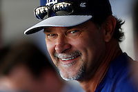 Los Angeles Dodgers Manager Don Mattingly #8 before a game against the Colorado Rockies at Dodger Stadium on April 30, 2013 in Los Angeles, California. (Larry Goren/Four Seam Images)