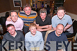 Milltown Golf Society.  Playing in Barrow and enjoying dinner at  Darcy's Restaurant Tralee on Saturday. front l-r Robert Walsh, David Sweetman, Tom Fogarty, Back l-r Chris McGrath, Paddy McPhillips, Fionn Comerford, Shane O'Neill.