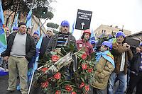 Roma, 3 Marzo 2012.Manifestazione dei lavoratori del settore edile e delle costruzioni contro la crisi economica e le morti sul lavoro..Cgil Cisl Uil.funerale del lavoro