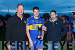Johnny Stack North Kerry board chairman Sean T Dillon Captain of St Senans and Derek Galvin representing Con McCarthy Insurance Listowel after St Senans defeated Brosna in the final of the North Kerry Division 1 league final played in Duagh on Saturday evening