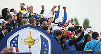 European Fans salutes the players during Friday's Fourballs, at the Ryder Cup, Le Golf National, Îls-de-France, France. 28/09/2018.<br /> Picture David Lloyd / Golffile.ie<br /> <br /> All photo usage must carry mandatory copyright credit (© Golffile | David Lloyd)