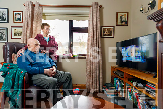 Bertie and Bernie Conway Brendans Park watching Mass from Saint Brendans church, Tralee on the Internet on Monday.