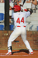 Johnson City Cardinals right fielder Anthony Garcia #44 swings at a pitch during a game against the Greeneville Astros at Howard Johnson Field on July 13, 2011 in Johnson City, Tennessee.  Greeneville won the game 7-4.   (Tony Farlow/Four Seam Images)