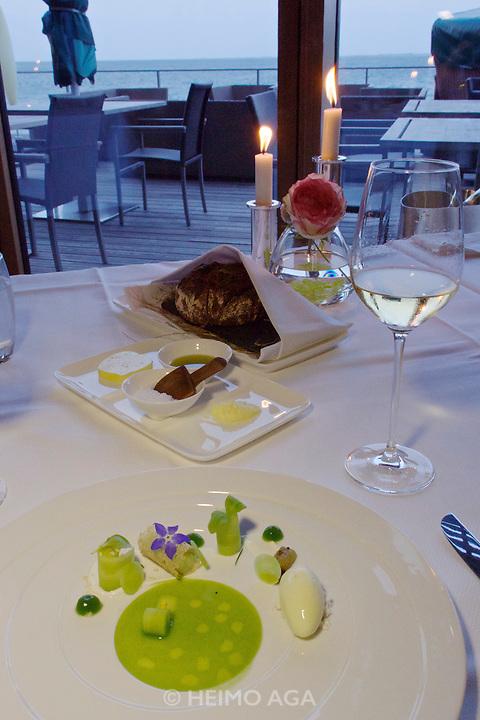 "Sylt, Germany. Hörnum. Budersand Hotel Golf & Spa. Restaurant KAI3. ""Freilandgurken-Variation""."