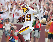 Landover, MD - September 14, 2008 -- Washington Redskins wide receiver Santana Moss (89) celebrates as he scores the game-winning touchdown late in the fourth quarter against the New Orleans Saints at FedEx Field in Landover, Maryland on Sunday, September 14, 2008. The Redskins won the game 29 - 24..Credit: Ron Sachs / CNP.(RESTRICTION: NO New York or New Jersey Newspapers or newspapers within a 75 mile radius of New York City)