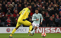 Liverpool's Alisson Becker under pressure from Bayern Munich's Serge Gnabry<br /> <br /> Photographer Rich Linley/CameraSport<br /> <br /> UEFA Champions League Round of 16 First Leg - Liverpool and Bayern Munich - Tuesday 19th February 2019 - Anfield - Liverpool<br />  <br /> World Copyright © 2018 CameraSport. All rights reserved. 43 Linden Ave. Countesthorpe. Leicester. England. LE8 5PG - Tel: +44 (0) 116 277 4147 - admin@camerasport.com - www.camerasport.com