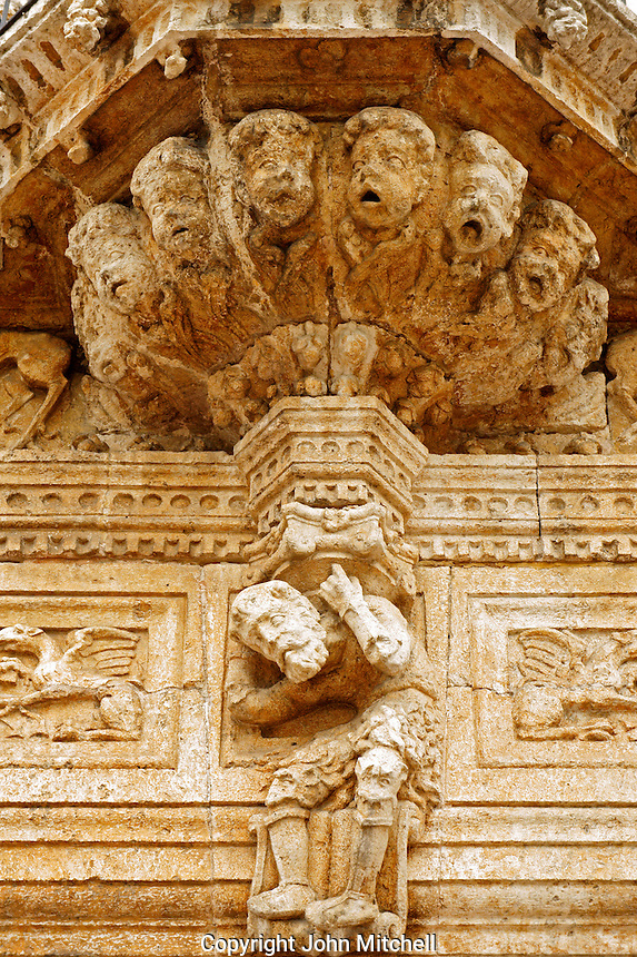 Detail of the facade of the 16th century Casa de Montejo on Plaza Grande, Merida, Yucatan, Mexico.