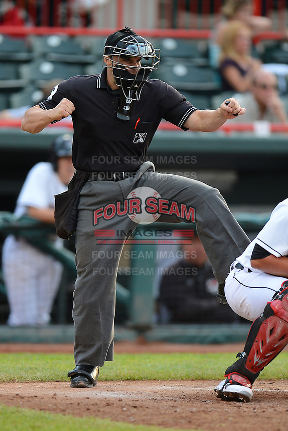 Home plate umpire Nick Mahrley during an Eastern League game between the Erie Seawolves and Harrisburg Senators on July 2, 2013 at Jerry Uht Park in Erie, Pennsylvania.  Erie defeated Harrisburg 2-1.  (Mike Janes/Four Seam Images)