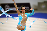 September 21, 2007; Patras, Greece;  Neta Rivkin of Israel balances with ribbon during All-Around final at 2007 World Championships Patras.  Photo by Tom Theobald. .