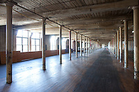 empty weaving room, Bates Mill, Lewiston, ME, textile