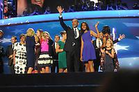 Barack Obama during the Democratic Convention with Michelle Obama, Bill Clinton, Eva Longoria...