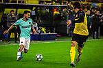 05.11.2019, Signal Iduna Park, Dortmund , GER, Champions League, Gruppenphase, Borussia Dortmund vs Inter Mailand, UEFA REGULATIONS PROHIBIT ANY USE OF PHOTOGRAPHS AS IMAGE SEQUENCES AND/OR QUASI-VIDEO<br /> <br /> im Bild | picture shows:<br /> Nico Schulz (Borussia Dortmund #14) im Duell mit Matteo Politano (Inter #16), <br /> <br /> Foto © nordphoto / Rauch