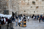 Very high resolution late afternoon view of unidentified Jewish men praying at the Western Wall in the Old City of Jerusalem on Thursday, November 2, 2017.<br /> Credit: Ron Sachs / CNP