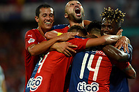 MEDELLÍN-COLOMBIA, 06-11-2019: Jugadores de Deportivo Independiente Medellín celebran el gol anotado a Deportivo Cali, durante partido de vuelta entre Deportivo Independiente Medellín y Deportivo Cali, por la final de la Copa Águila 2019, en el estadio Atanasio Girardot de la ciudad de Medellín. / Players of Deportivo Independiente Medellin celebrate a scored goal to Deportivo Cali, during a match of the second leg between Deportivo Independiente Medellin and Deportivo Cali, for the final of the Aguila Cup 2019 at the Atanasio Girardot stadium in Medellin city. / Photo: VizzorImage  / León Monsalve / Cont.