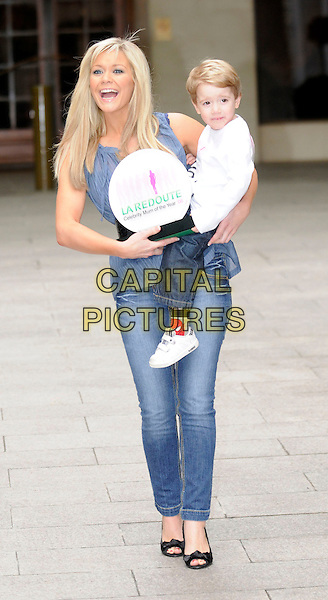 SUZANNE SHAW & COREY .Celebrity Mum Of The Year 2008, Grovesnor House Hotel, London, England..February 28th, 2008.full length blue top award trophy winner jeans denim son mother family carrying lifting mother .CAP/DH.©David Hitchens/Capital Pictures.