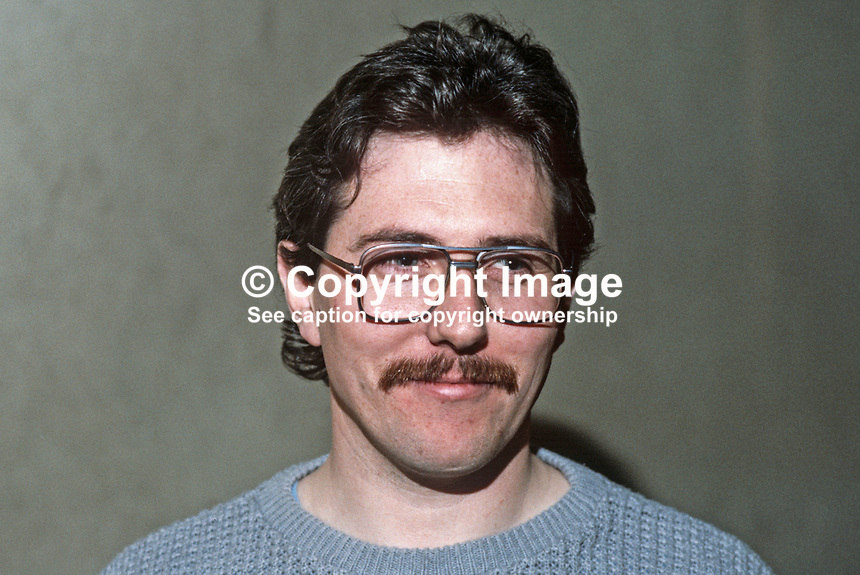 Richard McAuley, Belfast, N Ireland, prominent member, Provisional Sinn Fein. 19840131RMA1.<br /> Copyright Image from Victor Patterson,<br /> 54 Dorchester Park, <br /> Belfast, UK, BT9 <br /> <br /> t1: +44 28 9066 1296 (from Rep of Ireland 048 90661296)<br /> t2: +44 28 9002 2446 (from Rep of Ireland 048 9002 2446)<br /> <br /> m: +44 7802 353836<br /> <br /> e: victorpatterson@me.com<br /> www.victorpatterson.com<br /> <br /> Please see my Terms and Conditions of Use at www.victorpatterson.com. It is IMPORTANT that you familiarise yourself with them.<br /> <br /> Images used on the Internet must be visibly watermarked i.e. &copy; Victor Patterson<br /> within the body of the image and copyright metadata must not be deleted. Images <br /> used on the Internet have a size restriction of 4kbs and will be chargeable at current<br />  NUJ rates unless agreed otherwise.<br /> <br /> This image is only available for the use of the download recipient i.e. television station, newspaper, magazine, book publisher, etc, and must not be passed on to any third <br /> party. It is also downloaded on condition that each and every usage is notified within 7 days to victorpatterson@me.com<br /> <br /> The right of Victor Patterson to be identified as the author is asserted in accordance with The Copyright Designs And Patents Act (1988). All moral rights are asserted.